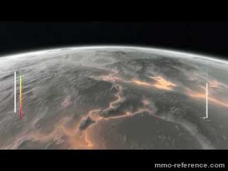Vidéo Infinity Battlescape - Le pilote tombe dans l'atmosphère d'une lune volcanique